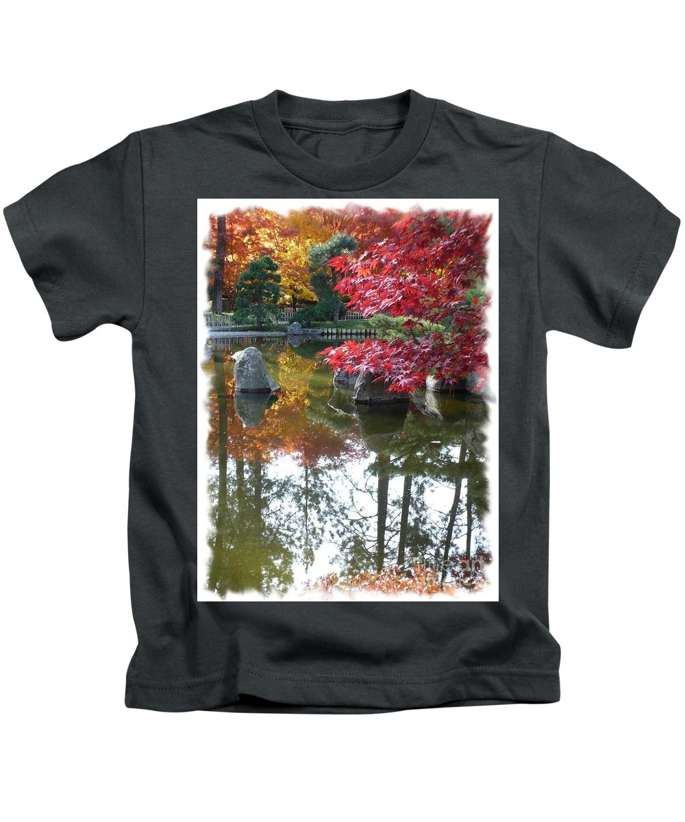 Autumn Kids T-Shirt featuring the photograph Glorious Fall Colors Reflection With Border by Carol Groenen