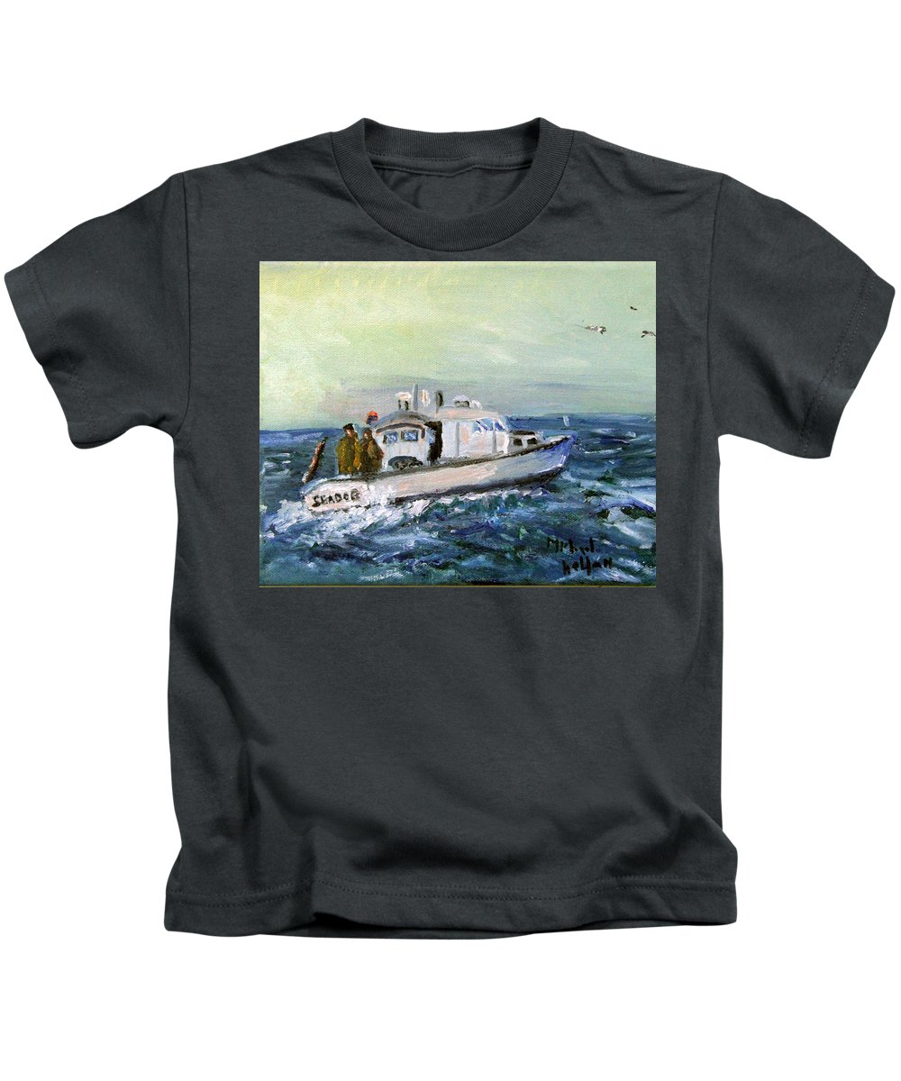 Nautical Kids T-Shirt featuring the painting Going Fishing by Michael Helfen