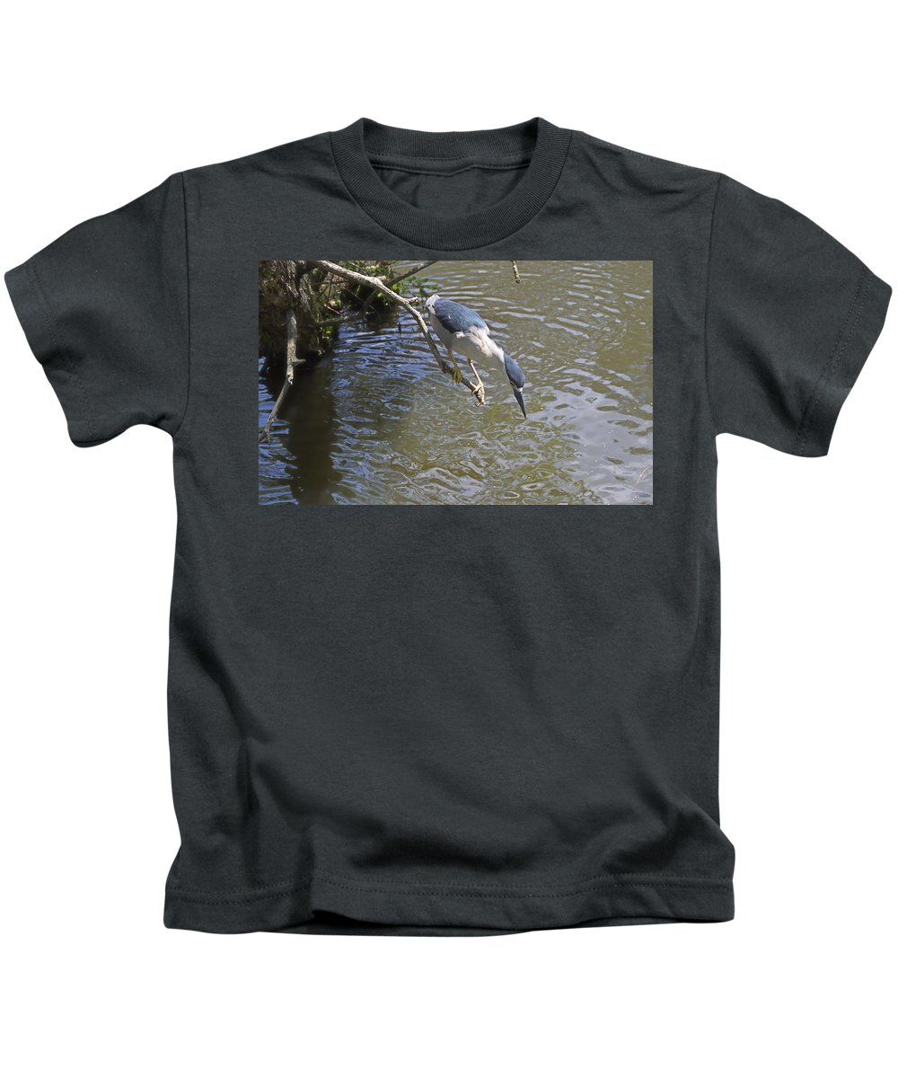 Bird Kids T-Shirt featuring the photograph Going In For The Catch by Judith Morris