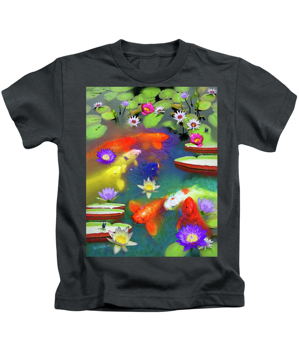 Gold Fish Kids T-Shirt featuring the painting Gold Fish And Water Lily Pads by Susanna Katherine