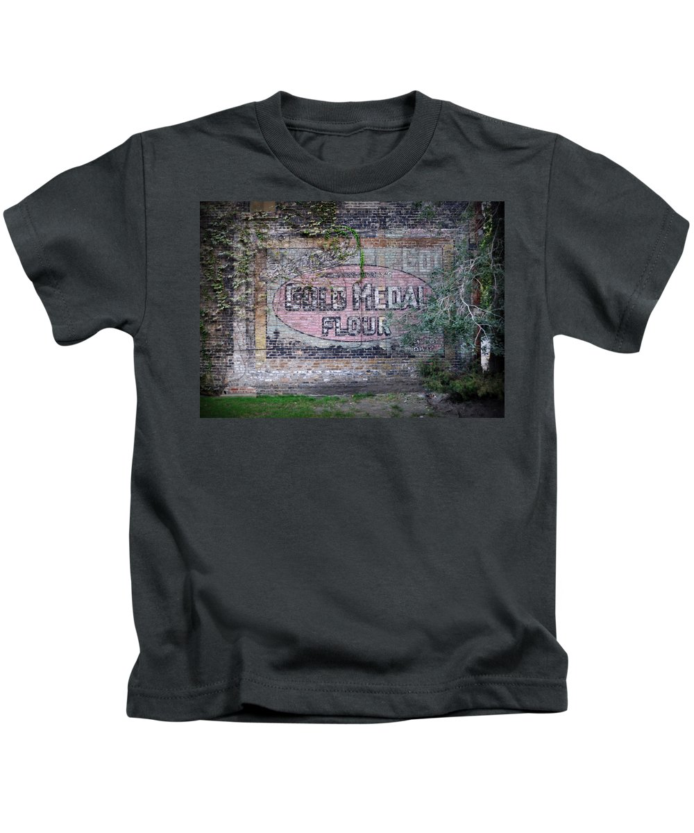 Gold Medal Flour Kids T-Shirt featuring the photograph Gold Medal Flour by Tim Nyberg