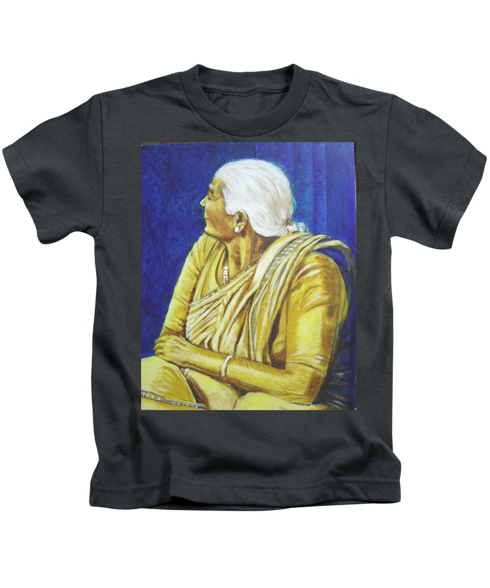 Usha Kids T-Shirt featuring the painting Golden Age 1 by Usha Shantharam