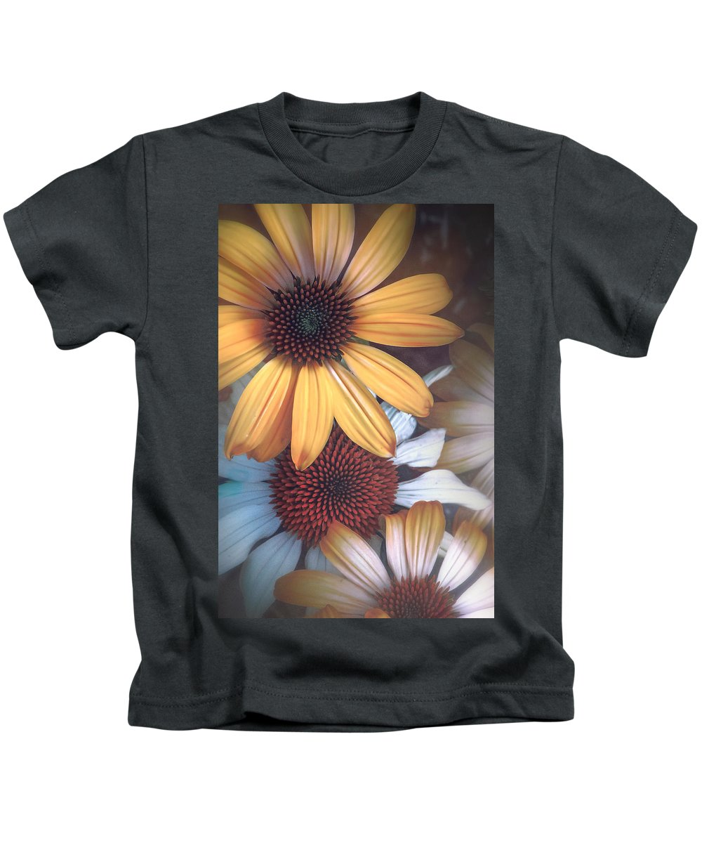 Art Kids T-Shirt featuring the photograph Golden Daisies by Laura Macky