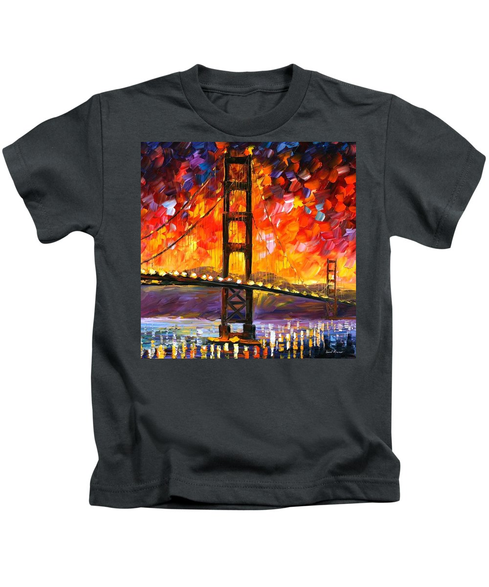 City Kids T-Shirt featuring the painting Golden Gate Bridge by Leonid Afremov