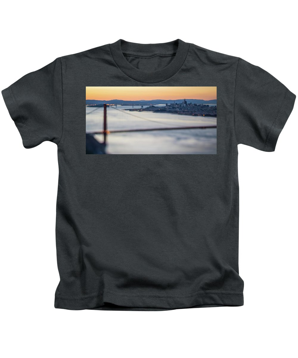 Golden Kids T-Shirt featuring the photograph Golden Gate Bridge San Francisco California West Coast Sunrise by Alex Grichenko