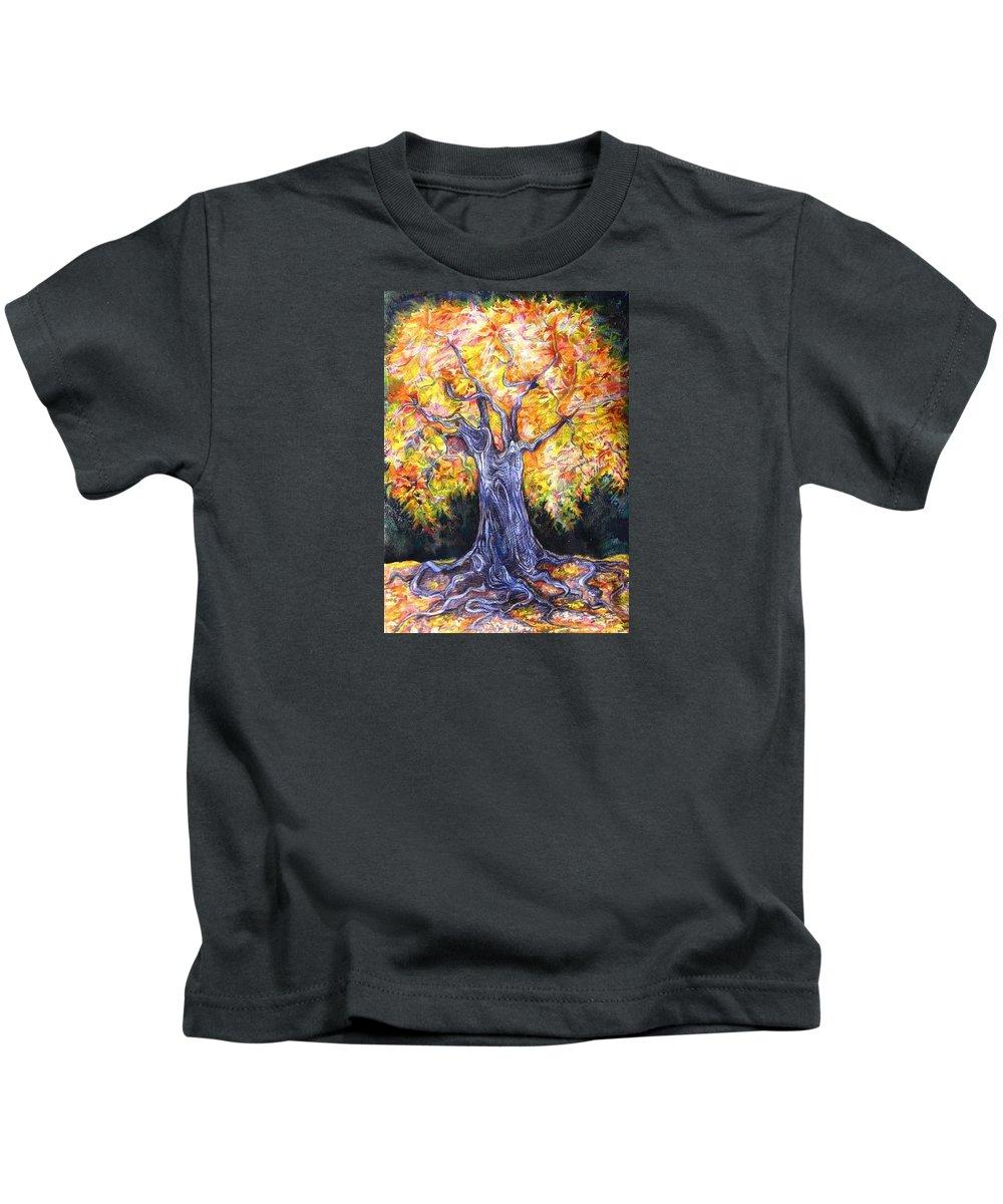 Landscape Kids T-Shirt featuring the drawing Golden Oak by Anna Duyunova