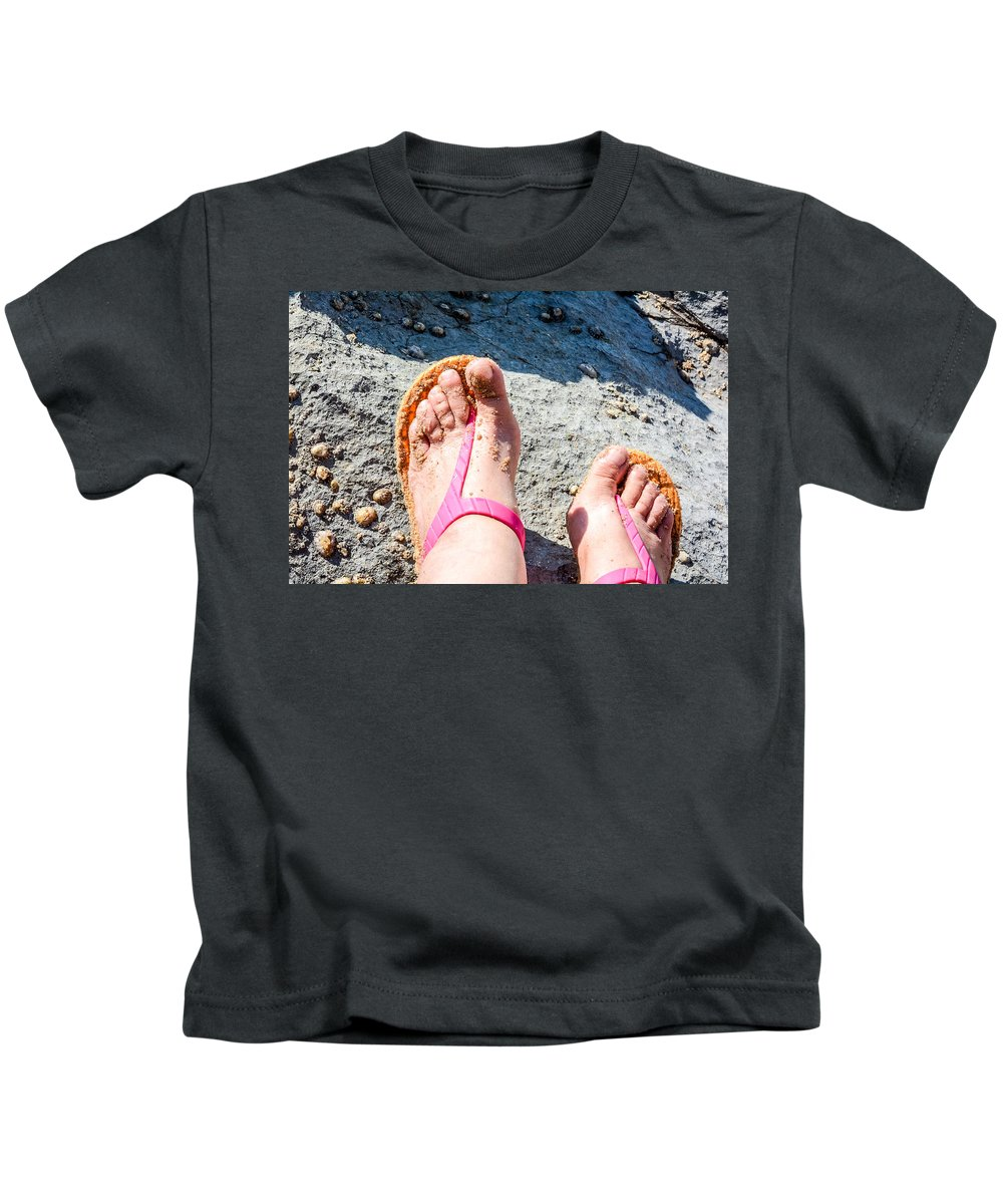 Beach Kids T-Shirt featuring the photograph Golden Sand At The Coast Line Beach by Nadia Kent