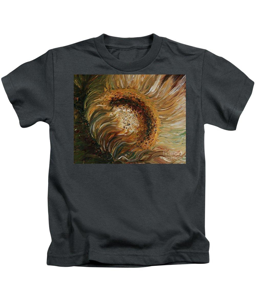 Sunflower Kids T-Shirt featuring the painting Golden Sunflower by Nadine Rippelmeyer