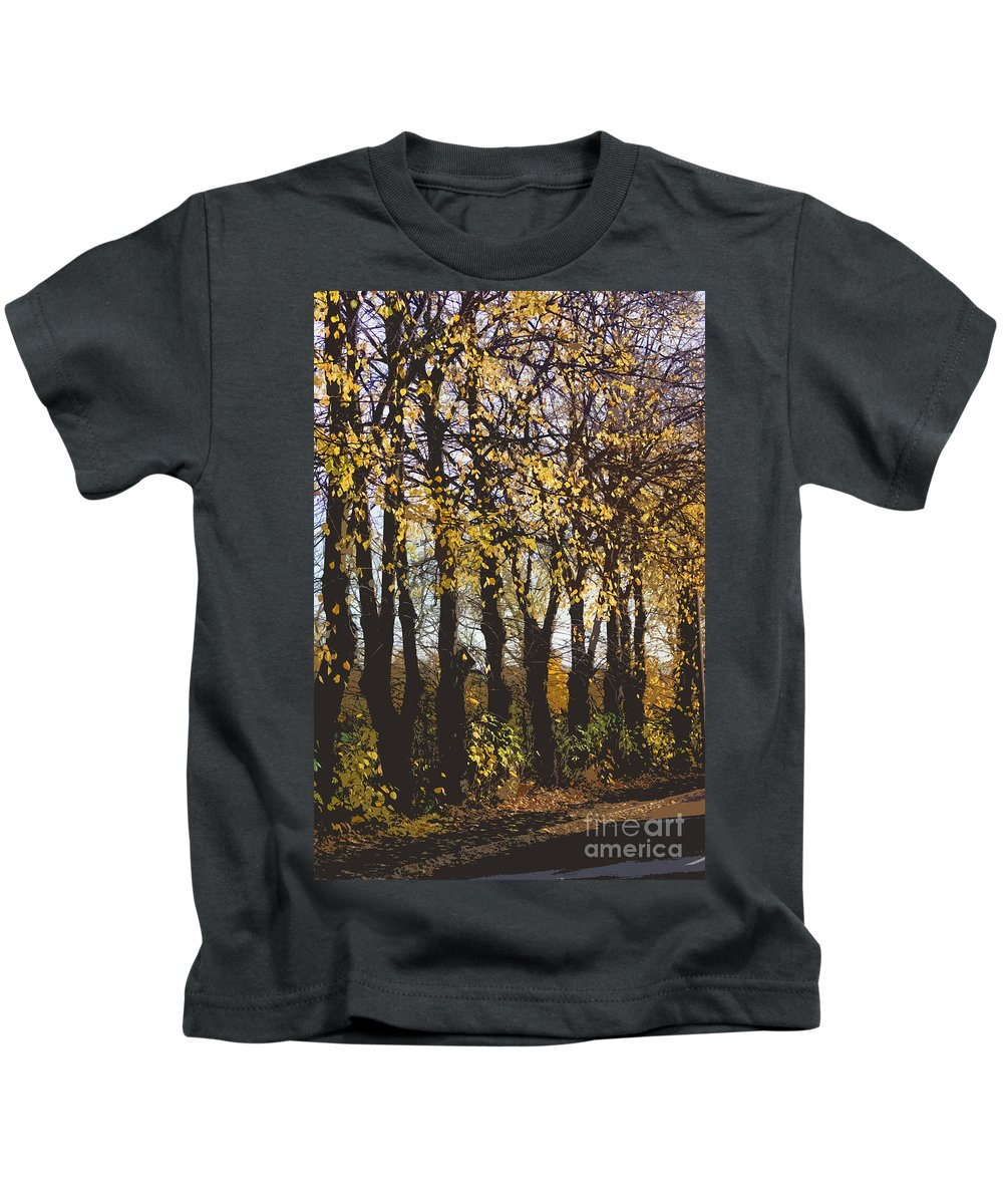 Abstract Kids T-Shirt featuring the digital art Golden Trees 1 by Carol Lynch