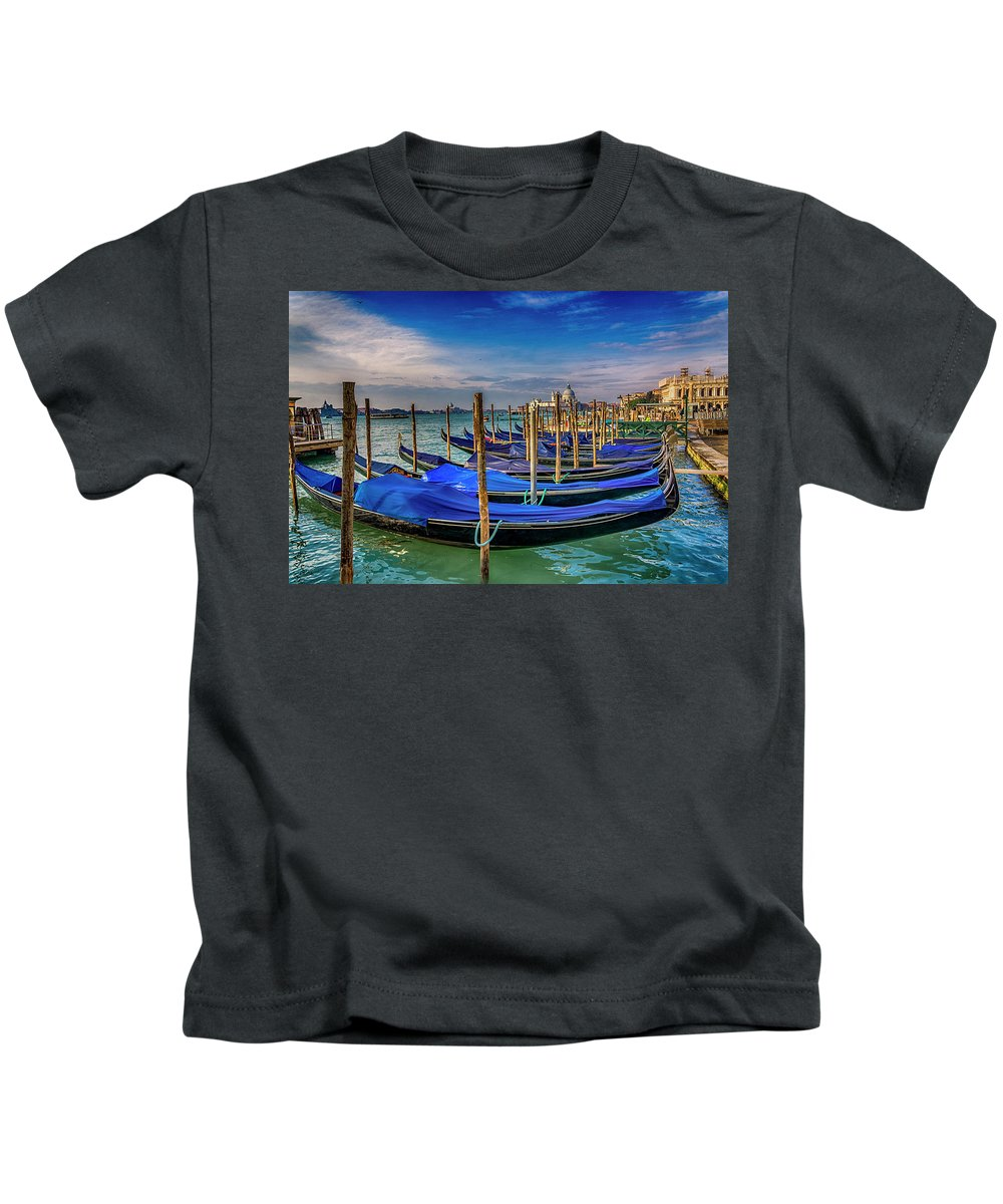 Europe Kids T-Shirt featuring the photograph Gondolas At Piazza San Marco Venice_dsc1266_02282017 by Greg Kluempers
