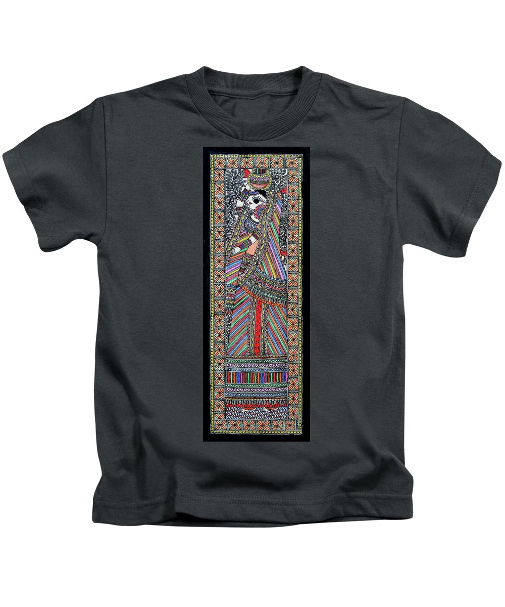 Kids T-Shirt featuring the painting Gopi by Prerna