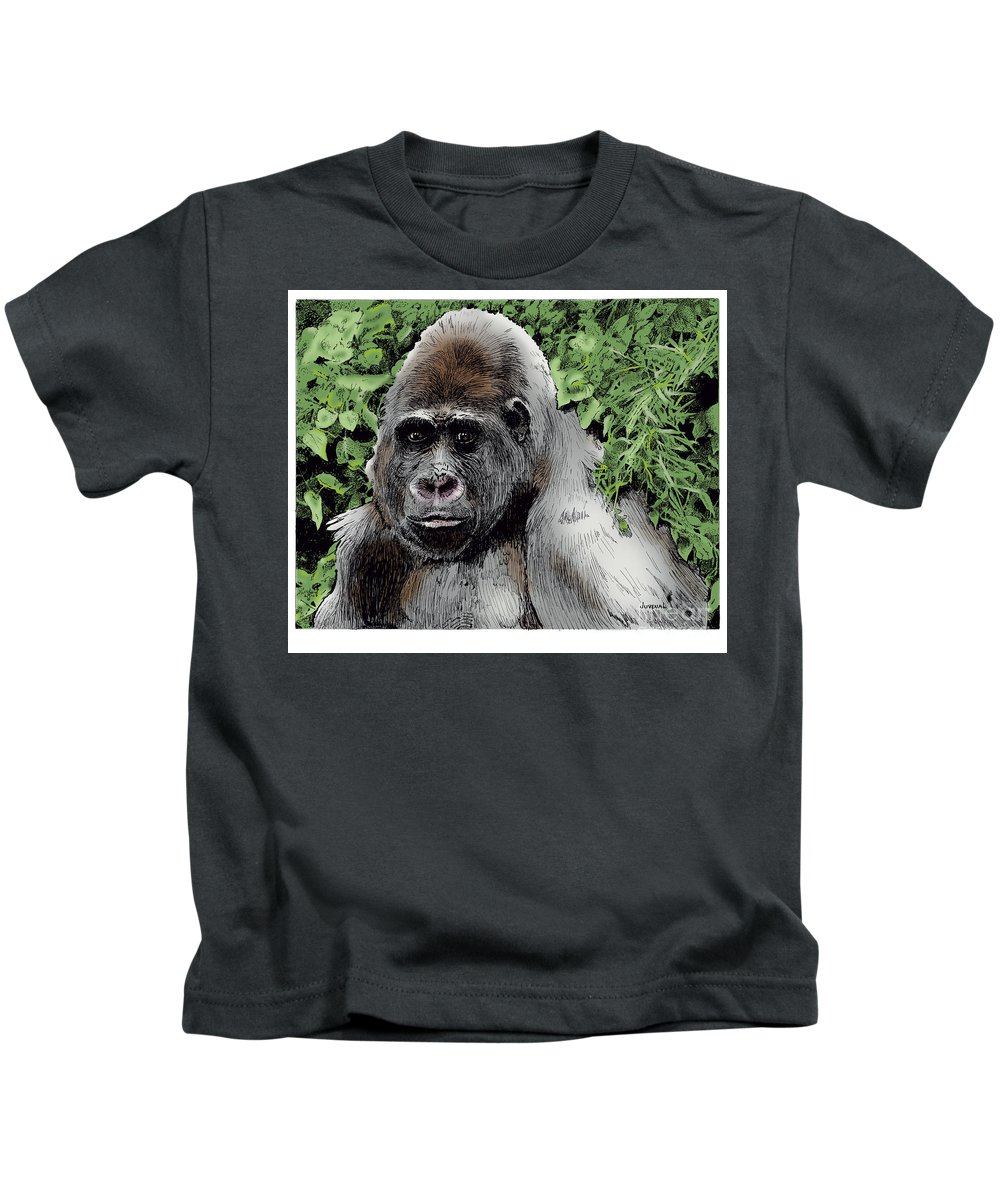 T-shirts Kids T-Shirt featuring the drawing Gorilla My Dreams by Joseph Juvenal