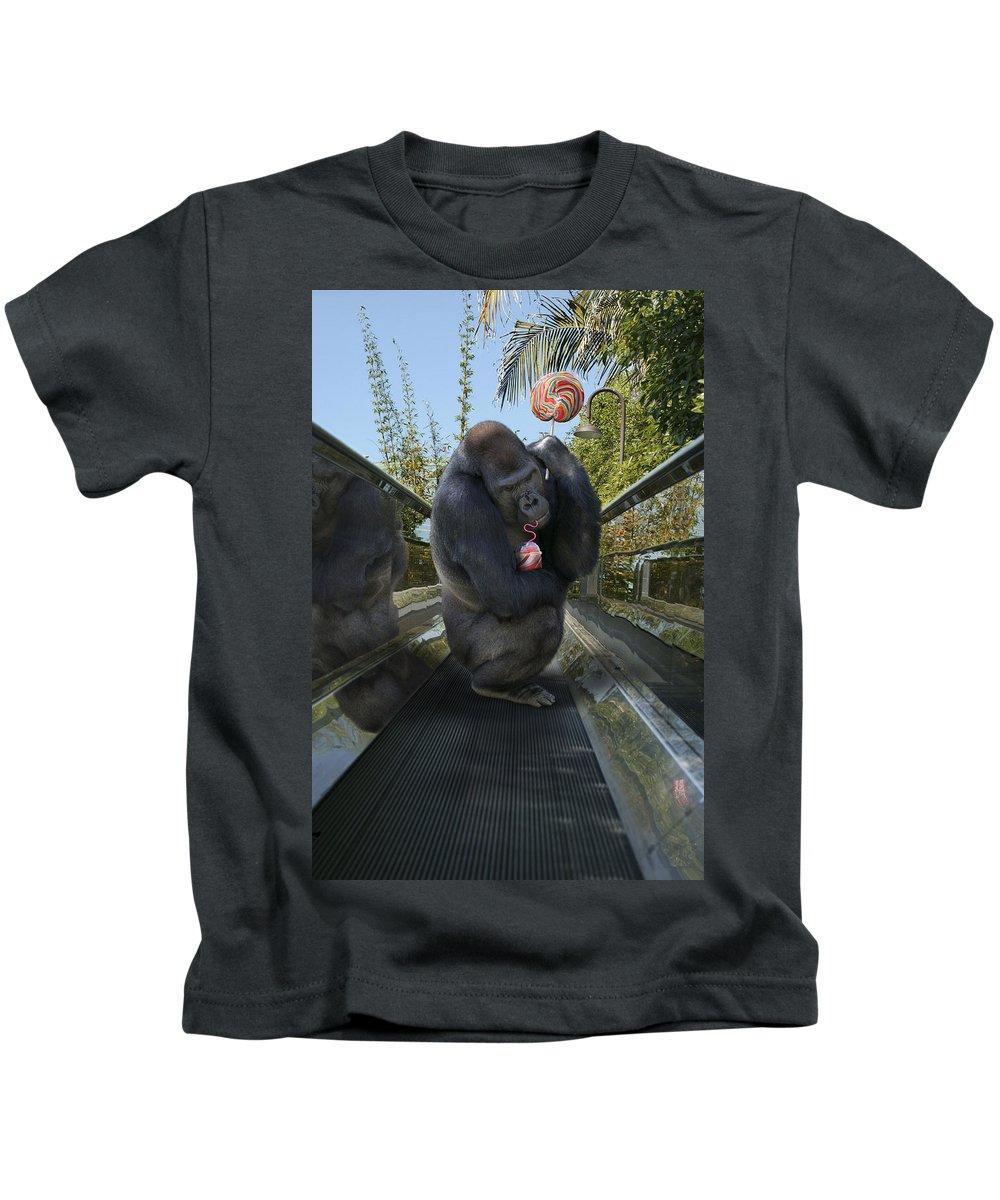 Gorilla Kids T-Shirt featuring the photograph Gorilla With Lollipop by Guy Crittenden