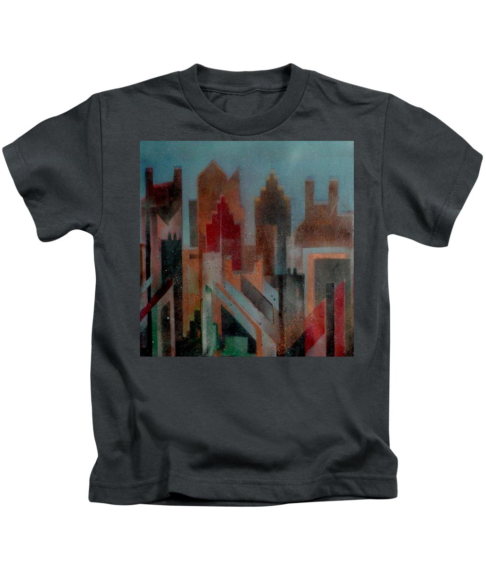 Abstract Kids T-Shirt featuring the painting Gothem City by Anita Burgermeister