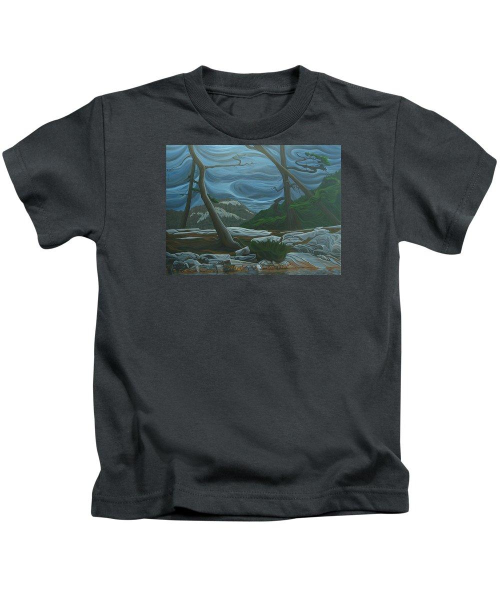 Grace Lake Kids T-Shirt featuring the painting Grace Lake by Jan Lyons