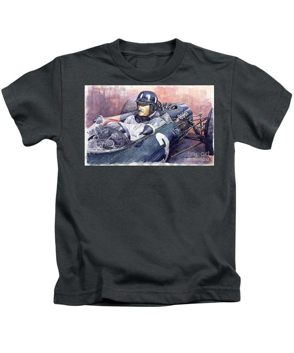 Watercolour Paintings Kids T-Shirt featuring the painting Graham Hill Brm P261 1965 by Yuriy Shevchuk
