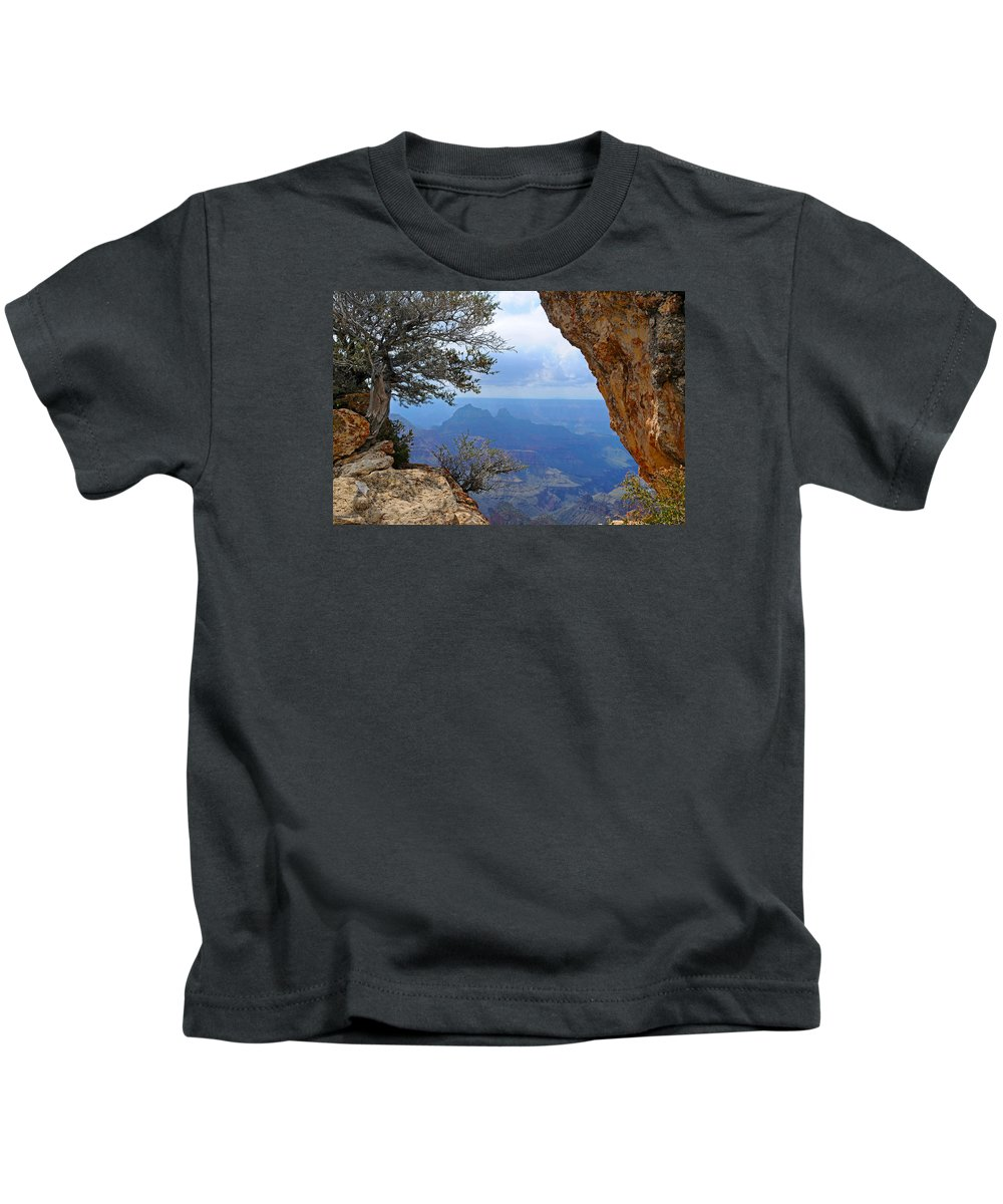 Grand Canyon North Rim Kids T-Shirt featuring the photograph Grand Canyon North Rim Window in the Rock by Victoria Oldham