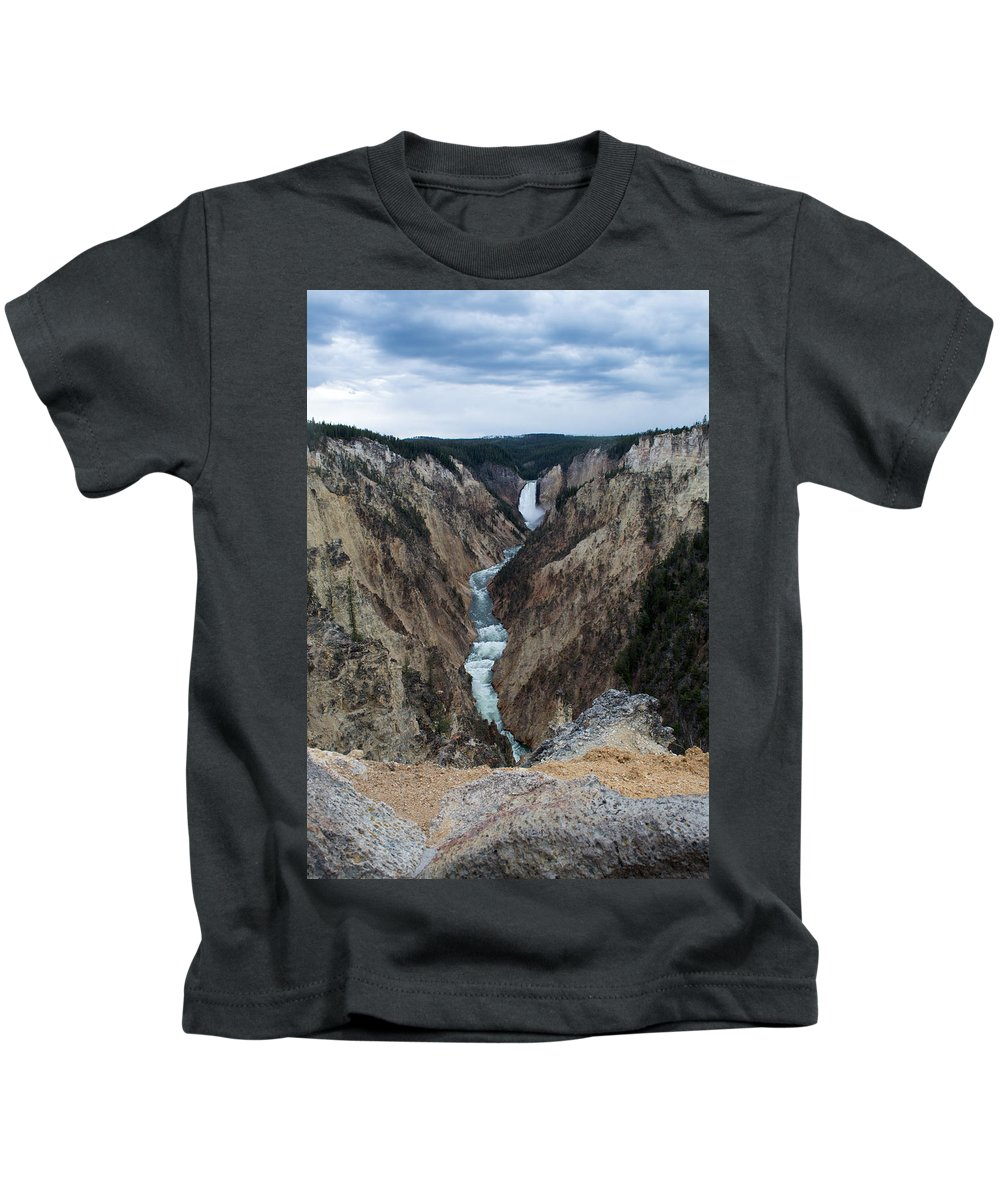 Yellowstone National Park Kids T-Shirt featuring the photograph Grand Canyon Photo by Linda Kerkau