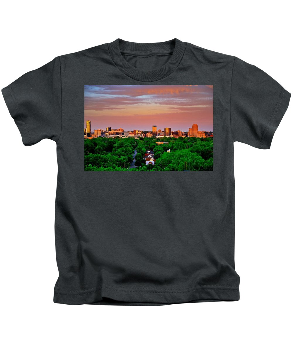 Grand Rapids Michigan Art Prize Cityscape Buildings Color Landscape Kids T-Shirt featuring the photograph Grand Rapids Mi- 10 The Art Prize by Robert Pearson