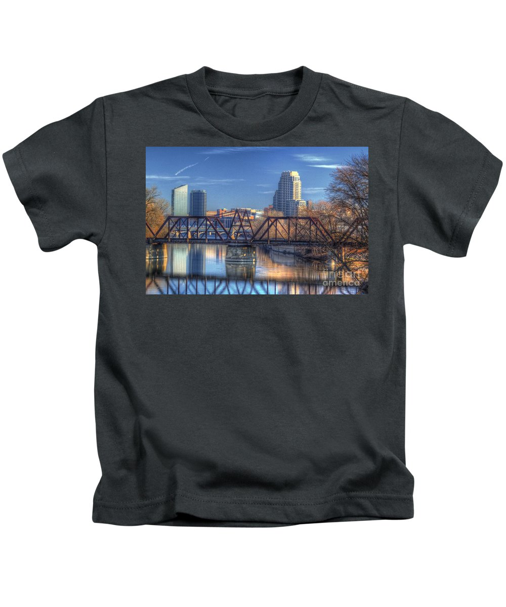 Grand Rapids Kids T-Shirt featuring the photograph Grand Rapids Mi- 167hdr by Robert Pearson