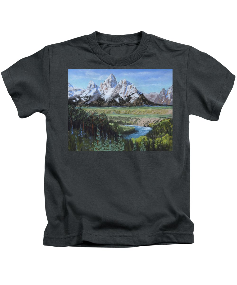 Grand Teton Kids T-Shirt featuring the painting Grand Teton And Snake River by Heather Coen