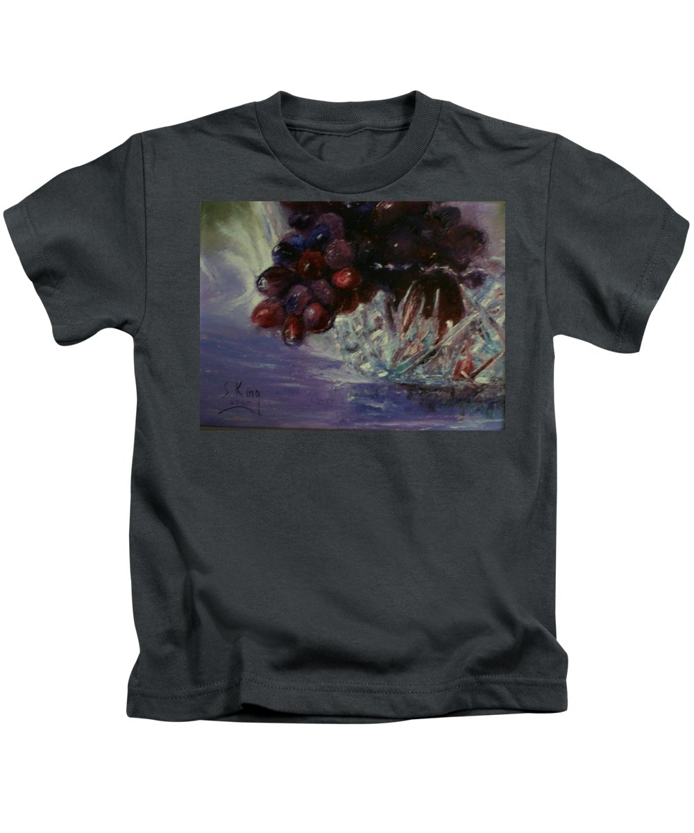 Still Life Kids T-Shirt featuring the painting Grapes And Glass by Stephen King