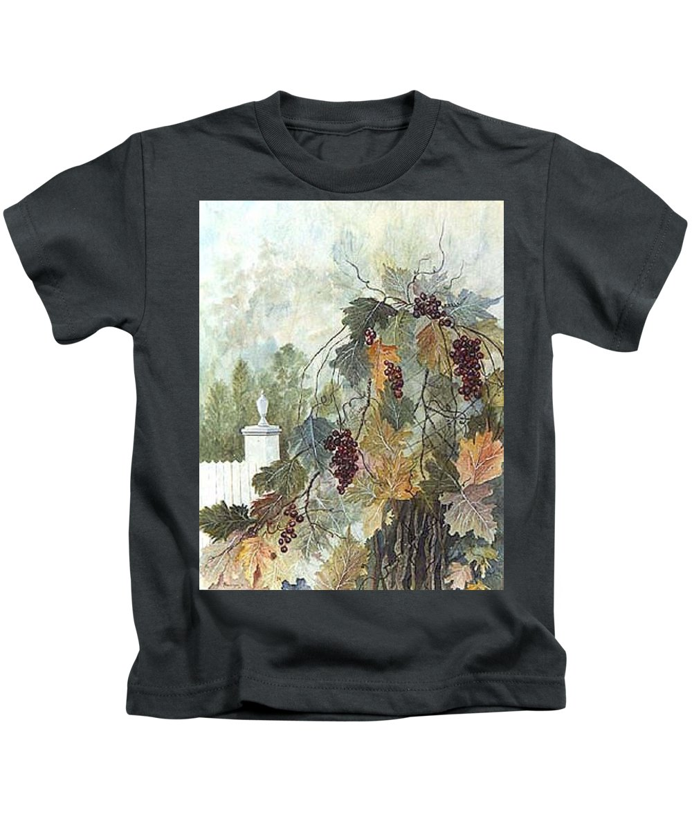 Fruit Kids T-Shirt featuring the painting Grapevine Topiary by Ben Kiger