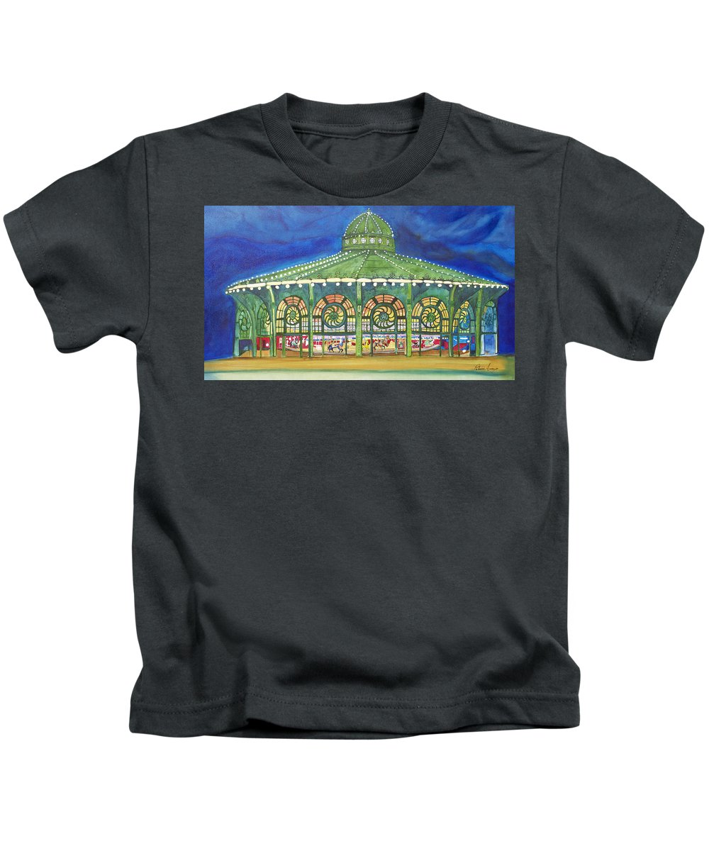 Night Paintings Of Asbury Park Kids T-Shirt featuring the painting Grasping The Memories by Patricia Arroyo