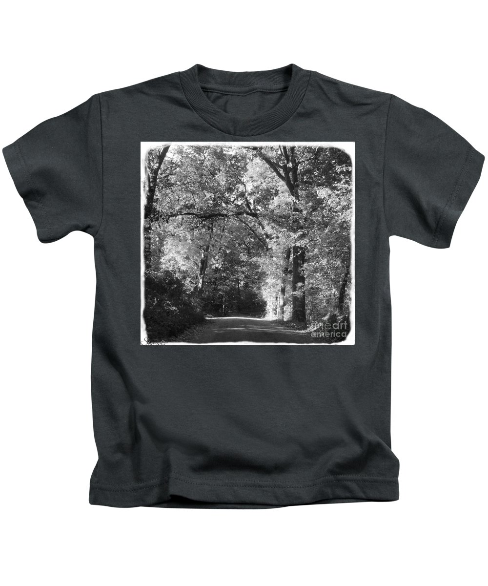 Back Kids T-Shirt featuring the photograph Graves Rd by September Stone