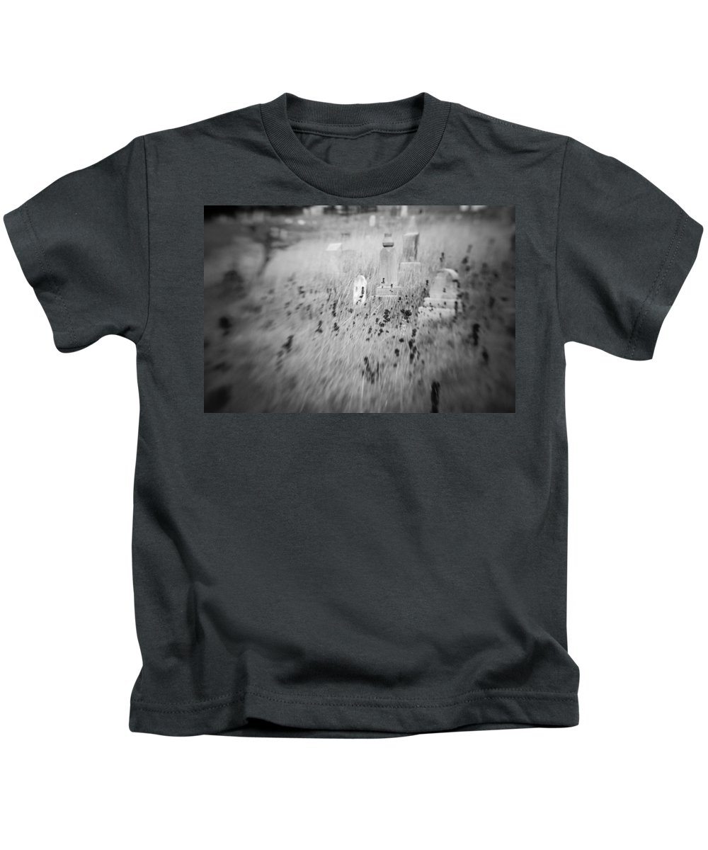 B&w Kids T-Shirt featuring the photograph Graveyard 6793 by Timothy Bischoff