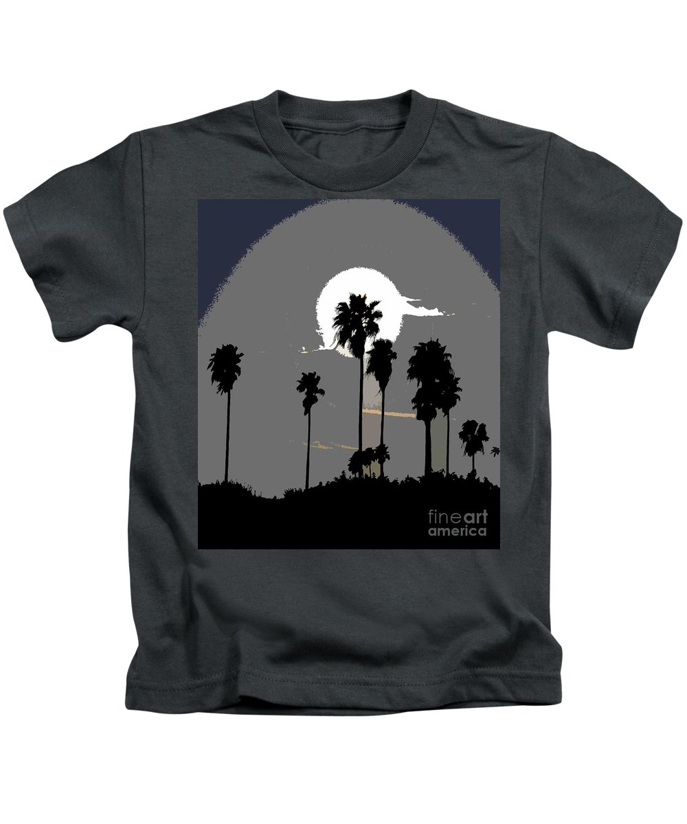 Palms Kids T-Shirt featuring the painting Gray Palms by David Lee Thompson