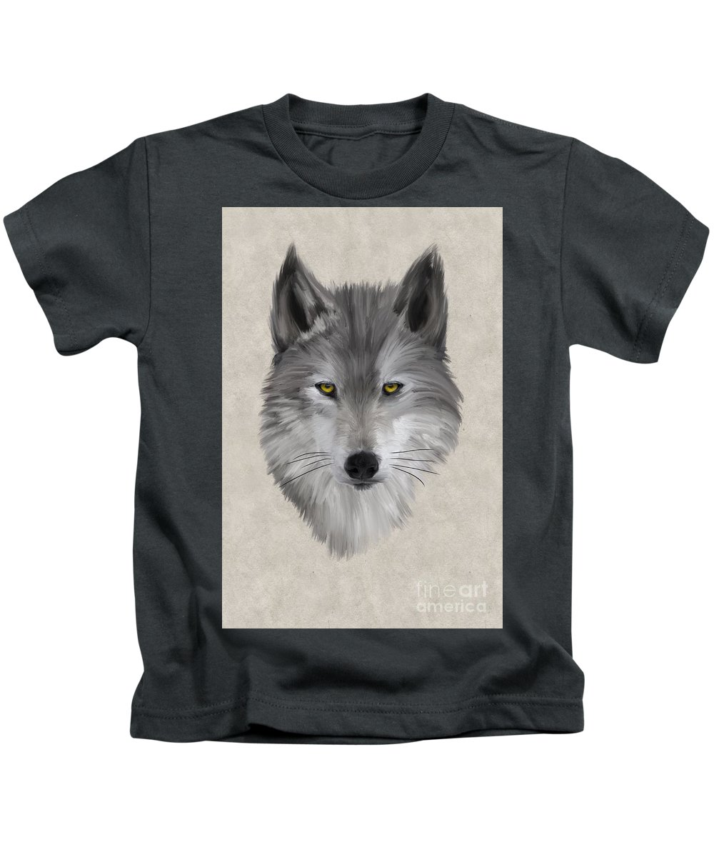 Canis Lupus Kids T-Shirt featuring the painting Gray Wolf by John Edwards