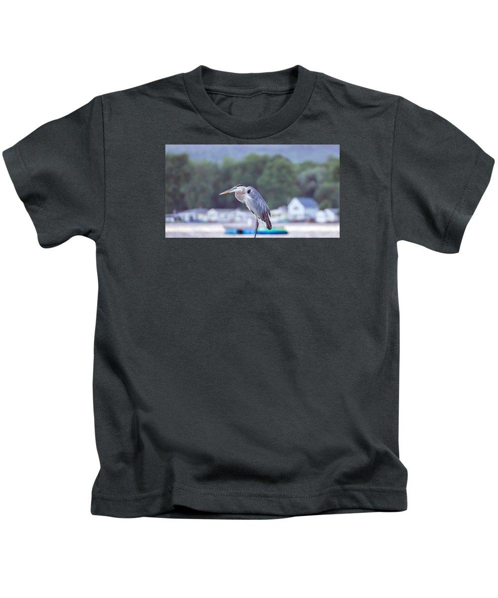 Great Blue Heron Kids T-Shirt featuring the photograph Great Blue Heron On Keuka Lake Horizontal Pano by Photographic Arts And Design Studio