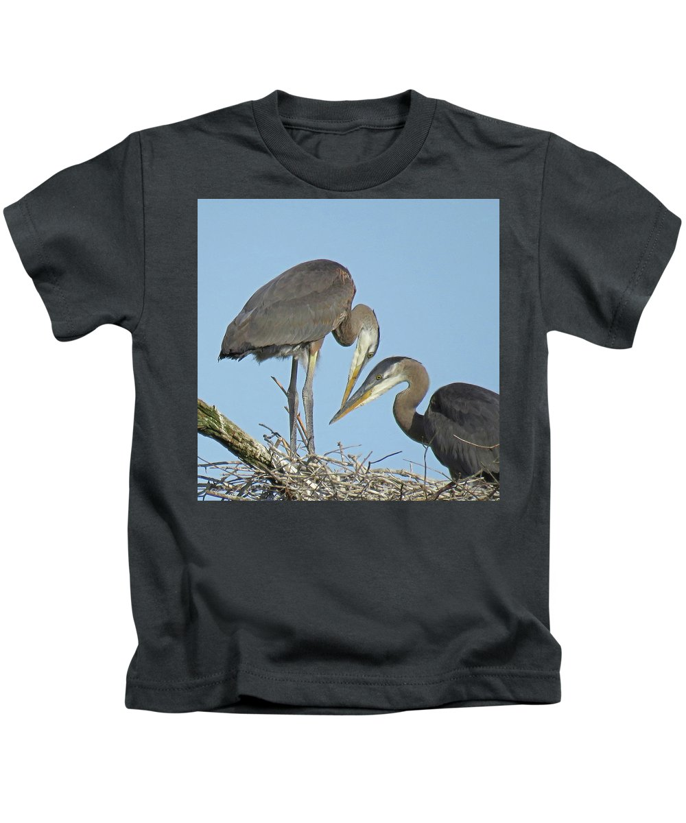 Great Blue Heron Kids T-Shirt featuring the photograph Great Blue Heron Pair by Pat Miller