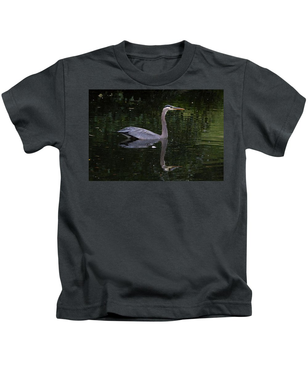 Great Blue Heron Kids T-Shirt featuring the photograph Great Blue Heron Swimming by Darrell MacIver
