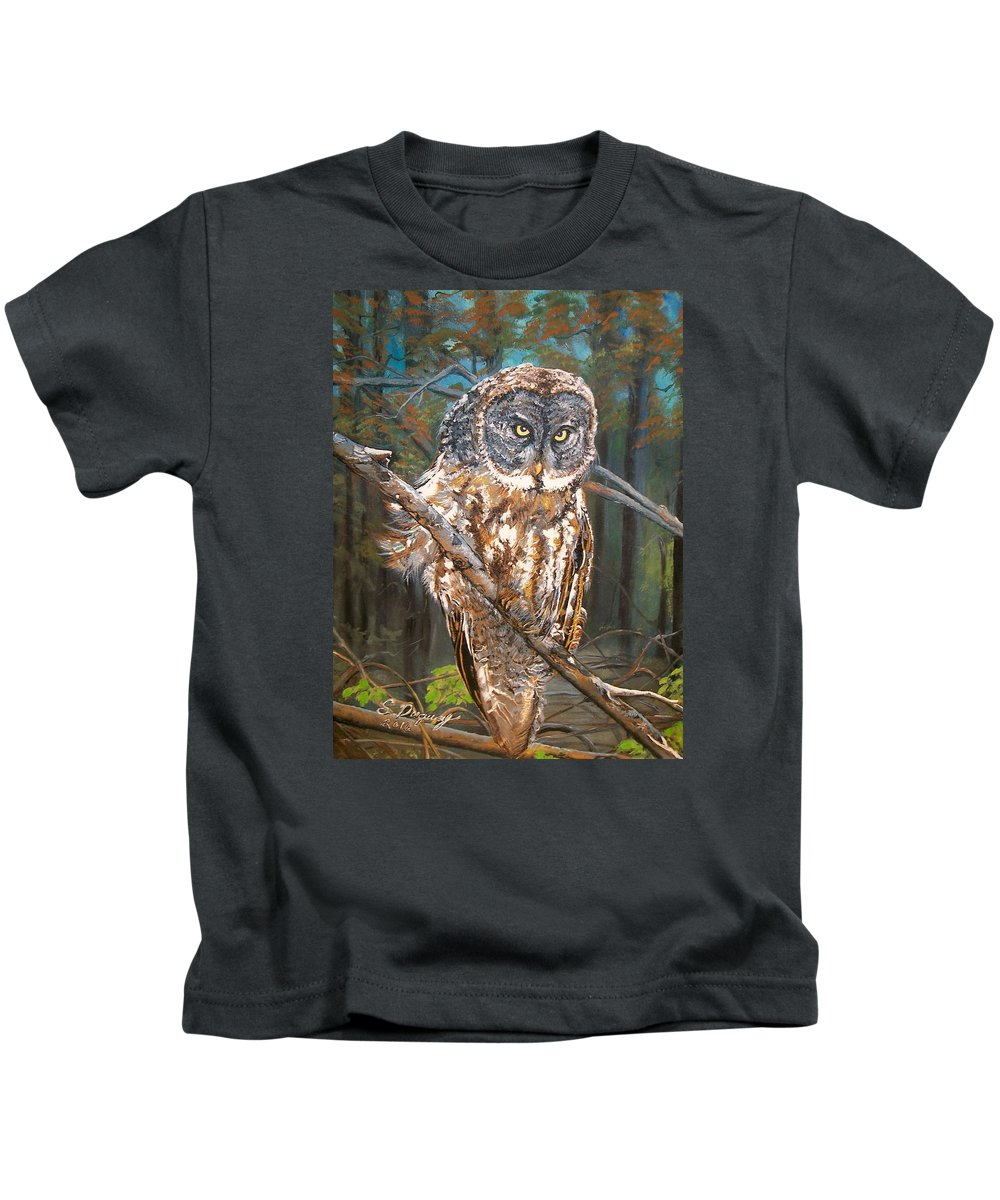 Tags Kids T-Shirt featuring the painting Great Grey Owl 2 by Sharon Duguay