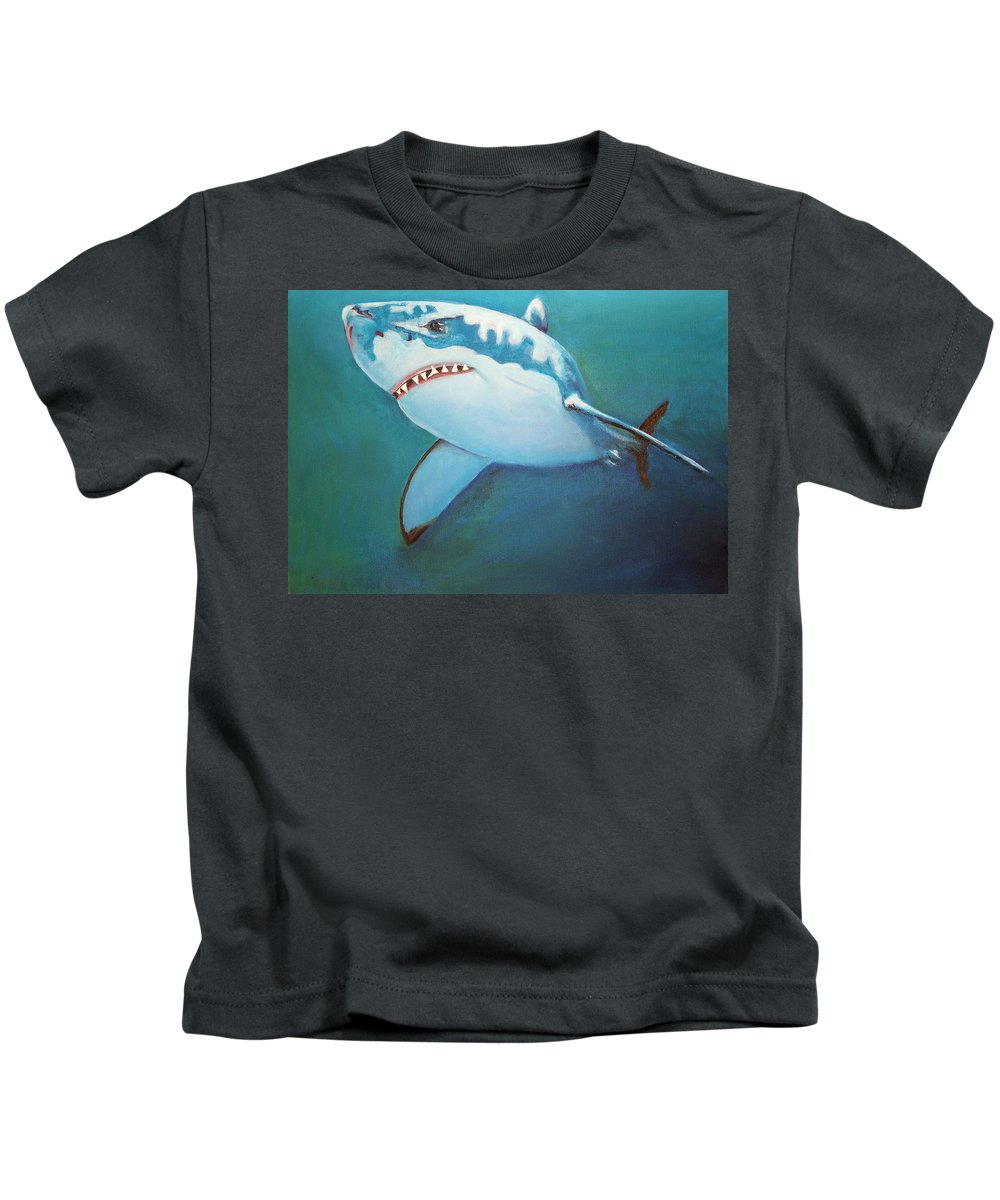 Great White Kids T-Shirt featuring the painting Great White 3 by Terry Lewey