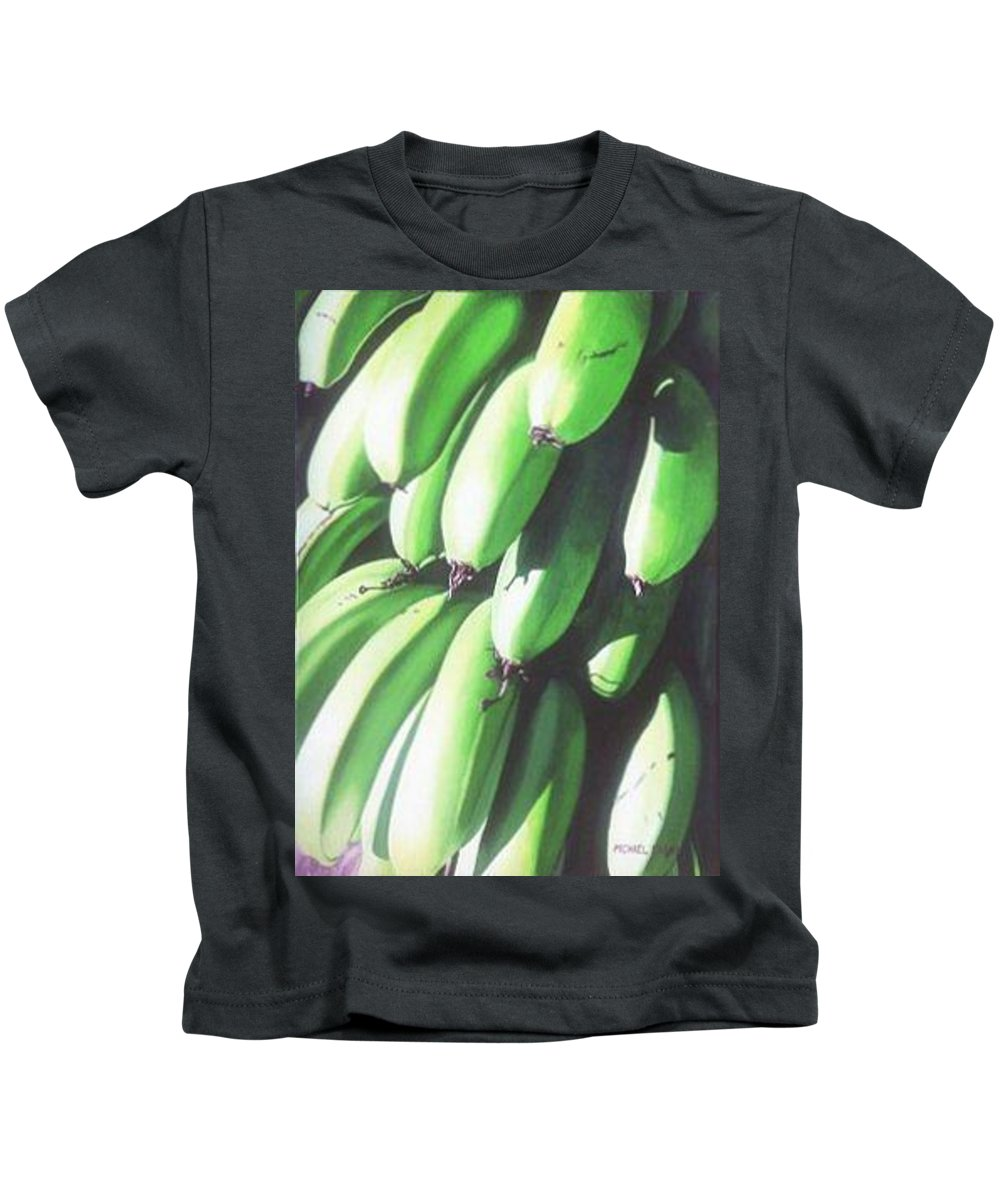 Hyperrealism Kids T-Shirt featuring the painting Green Bananas I by Michael Earney