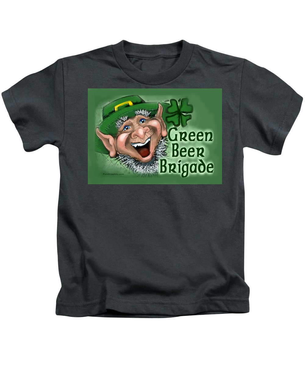 Green Beer Kids T-Shirt featuring the greeting card Green Beer Brigade by Kevin Middleton