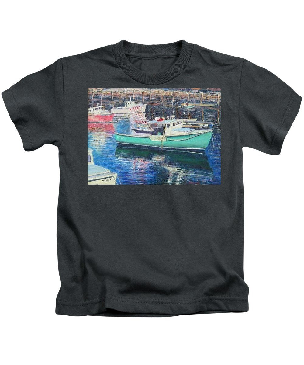 Water Kids T-Shirt featuring the painting Green Boat Reflections by Richard Nowak