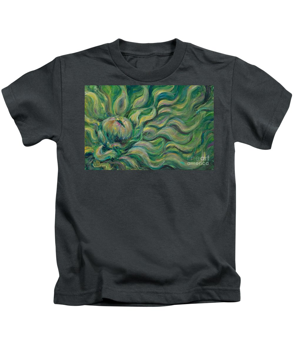 Green Kids T-Shirt featuring the painting Green Flowing Flower by Nadine Rippelmeyer