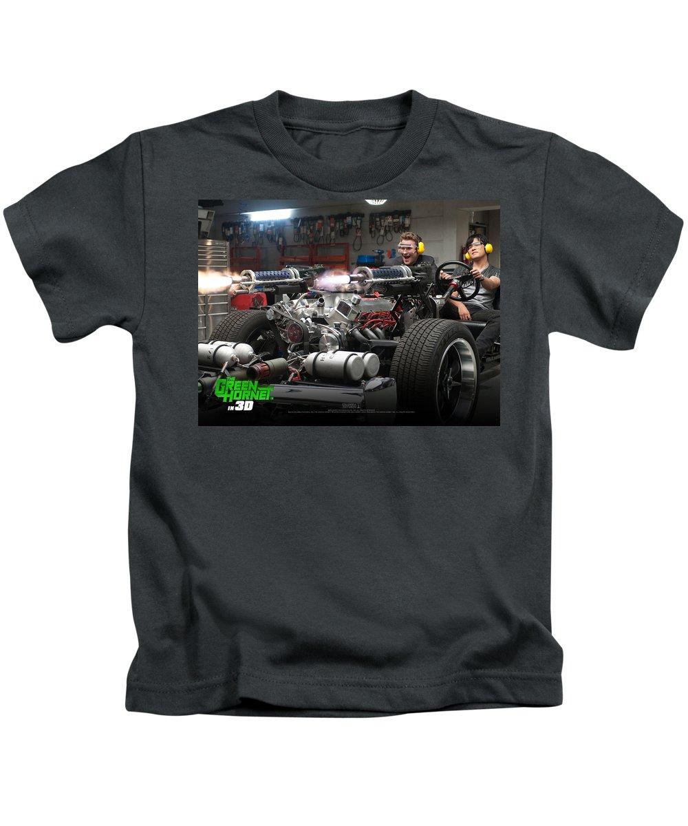 Green Hornet Kids T-Shirt featuring the digital art Green Hornet by Dorothy Binder