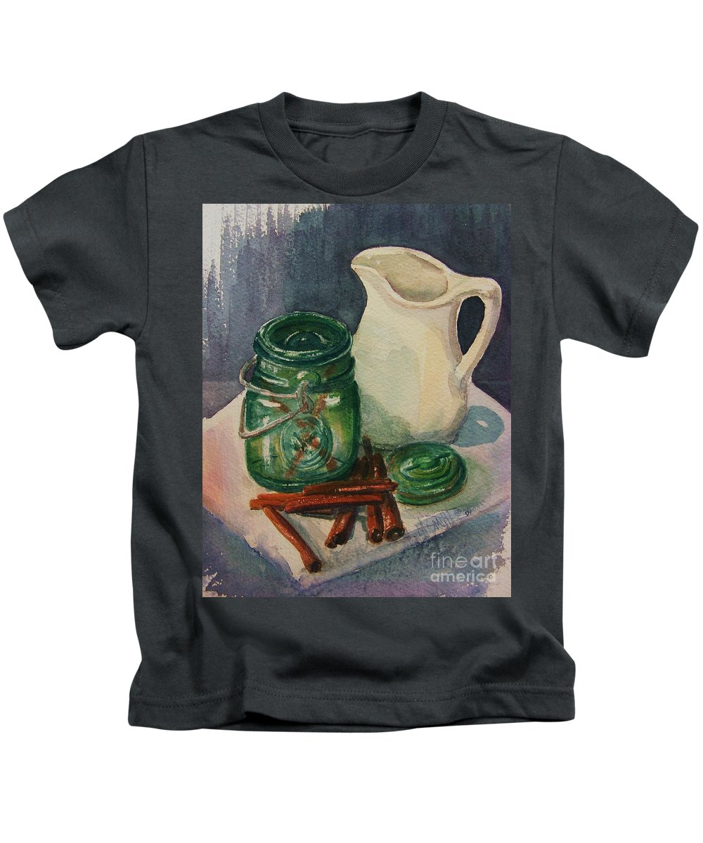 Still Life Kids T-Shirt featuring the painting Green Jar by Marilyn Smith