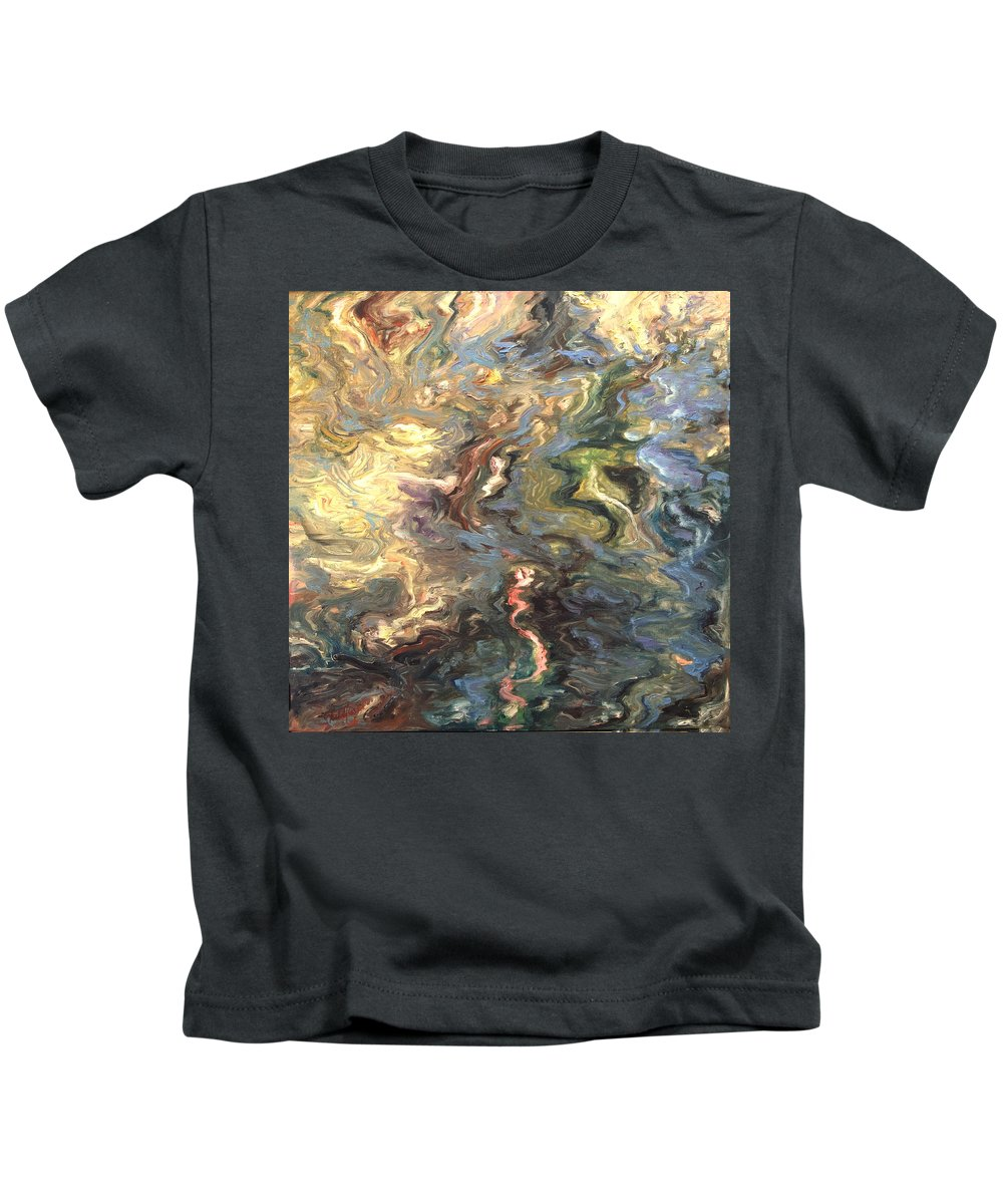 Green Kids T-Shirt featuring the painting Green by Rick Nederlof