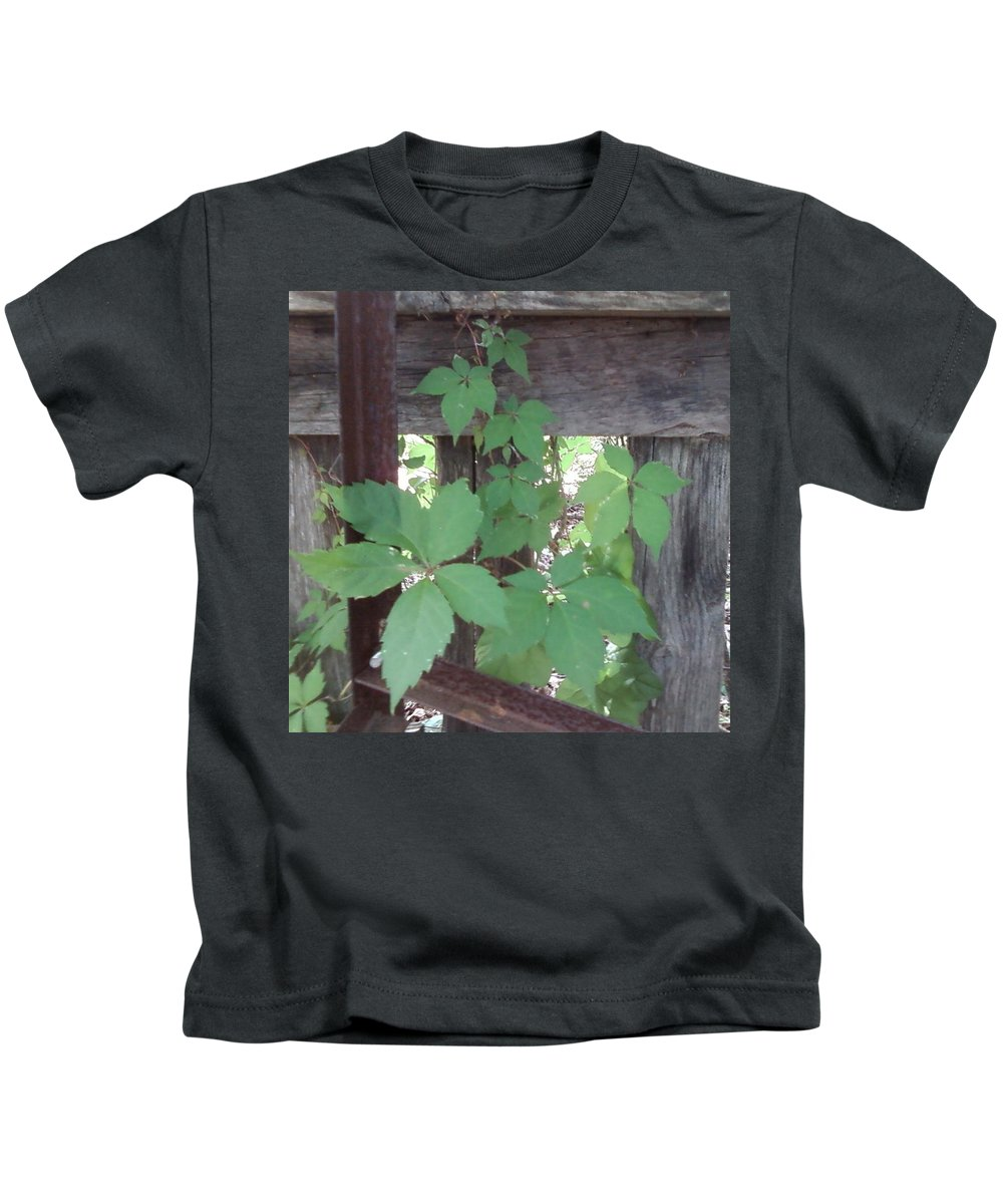 Barn Wood Fence Greenery Kids T-Shirt featuring the photograph Greenery by Cindy New