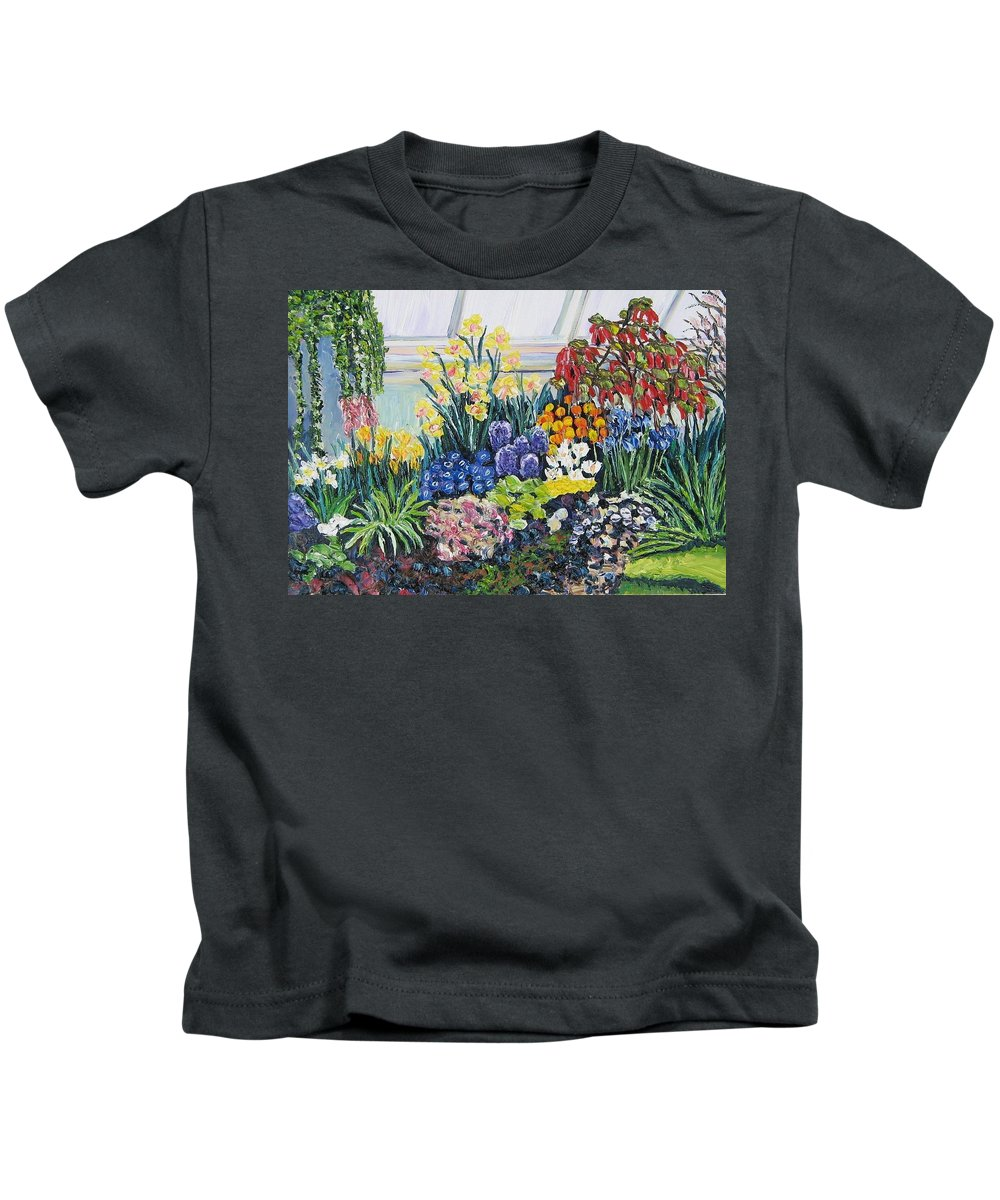 Flowers Kids T-Shirt featuring the painting Greenhouse Flowers With Blue And Red by Richard Nowak