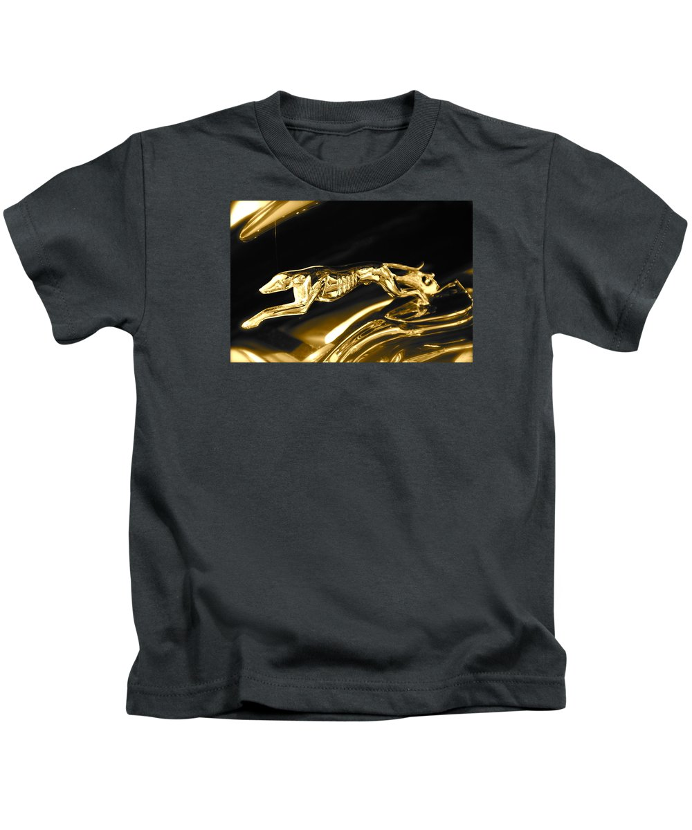 Greyhound Kids T-Shirt featuring the photograph Greyhound hoood ornament by Toni Berry