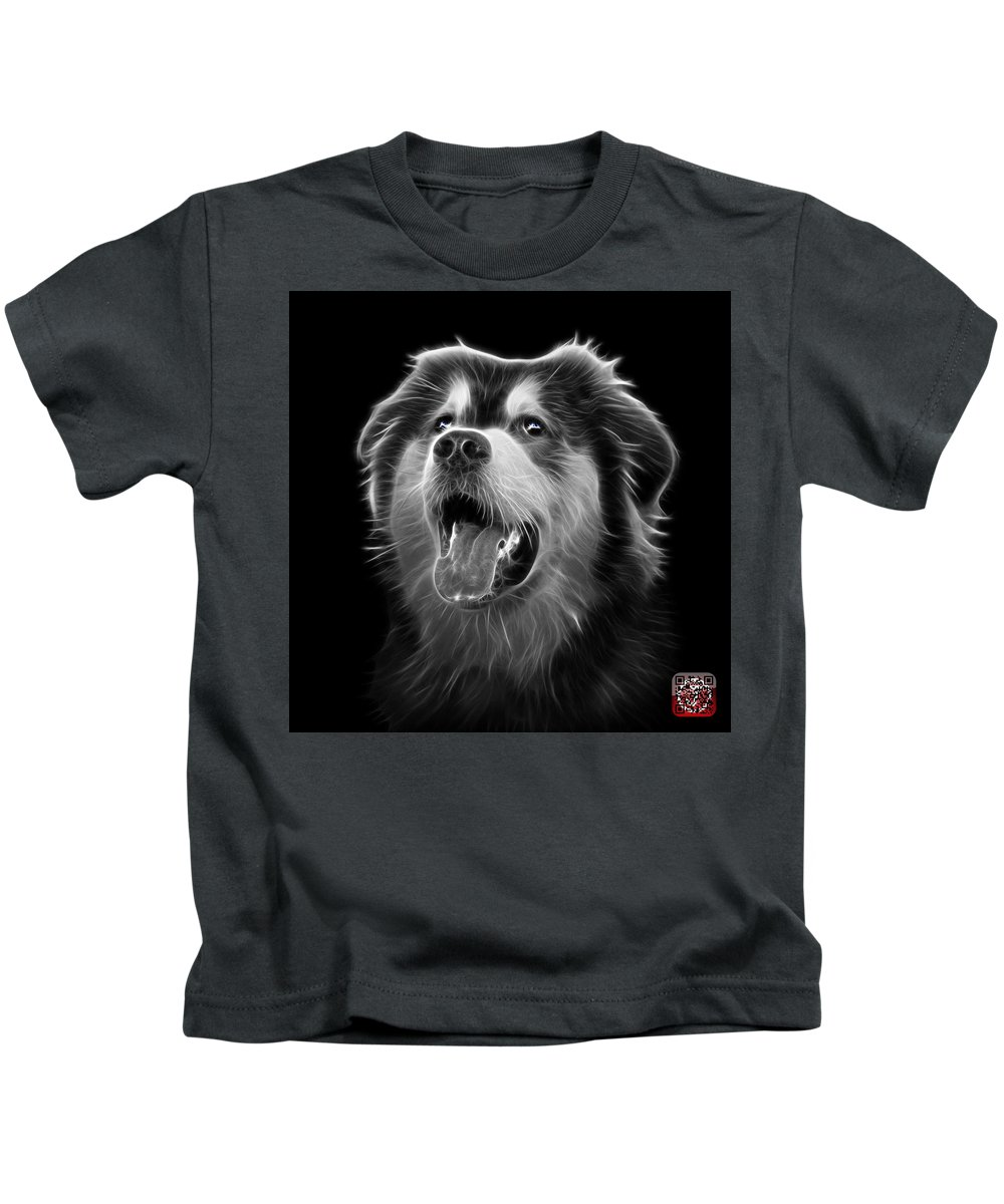 Dog Kids T-Shirt featuring the painting Greyscale Malamute Dog Art - 6536 - Bb by James Ahn