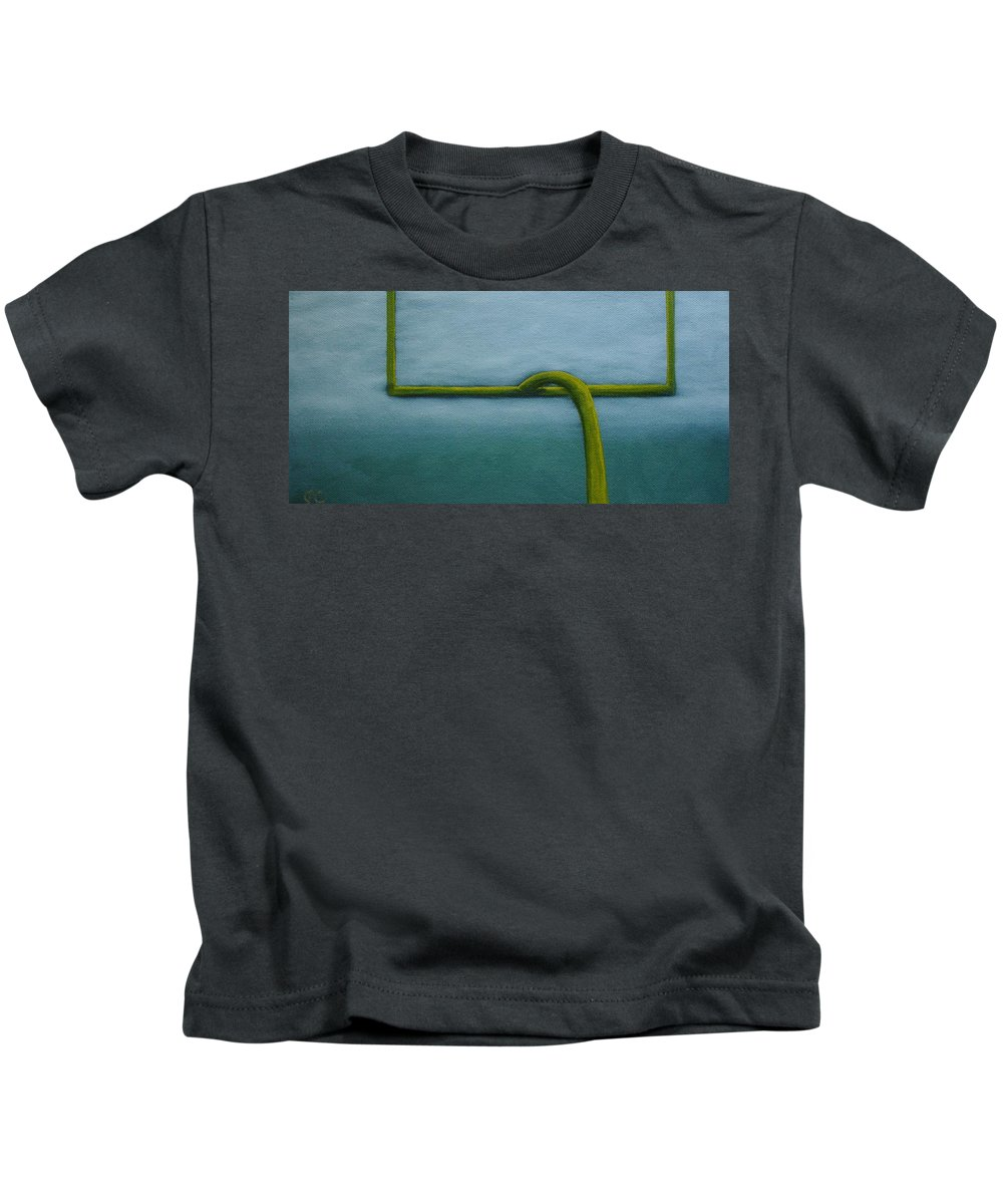 Football Field Goal Post Sports Nfl Cfl Still Life Home Decor Art Kids T-Shirt featuring the painting Gridiron by Jimmy Carender