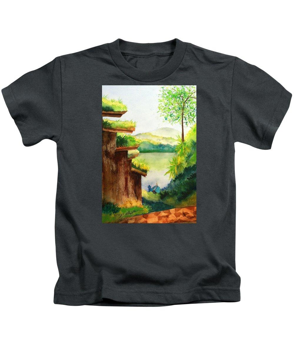 Landscape Kids T-Shirt featuring the painting Grieg's Home by Karen Stark